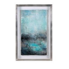 A31210 Turquoise & Gray Watercolor Painting Dimensions (34h x 22w x 2.5)
