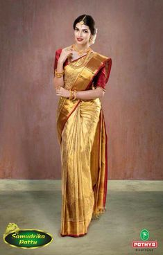 Over - Kanjivaram / Saree Store: Fashion Bridal Sarees South Indian, Indian Silk Sarees, Indian Bridal Fashion, Indian Wedding Outfits, Indian Beauty Saree, Indian Outfits, Gold Silk Saree, Bridal Silk Saree, Saree Wedding