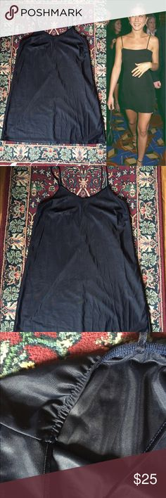 90s Navy Blue Slip Dress 90s Slip Dress! Such a simple yet sophisticated piece. In perfect condition!! No tag, but I'm a M/L and it fits me perfectly (will post measurements upon request.) I'm 5'6 and this dress hits mid thigh. Selling because it wasn't the material I expected when I ordered it! Feel free to ask any questions // open to offers!   Style Inspiration: Jennifer Aniston - 1990s  🔴15% OFF 2+ BUNDLES🔴 Vintage Dresses Mini