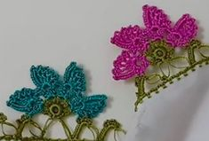 Diy And Crafts, Arts And Crafts, Crochet Borders, Jeffree Star, Tatting, Crochet Earrings, Flowers, Pattern, Towels