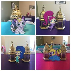 Shimmer and Shine centerpieces. Party done by WS Events