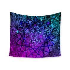 """Ebi Emporium """"Reach For The Stars"""" Pink Teal Wall Tapestry"""