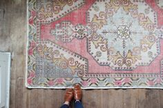 vintage Turkish rug,  faded rustic overdyed rug, dusty pink pastel area rug, 7'x 4.5'