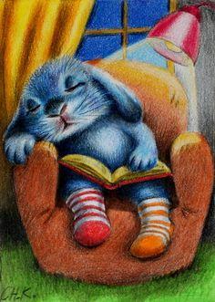 Cuando la ardiente ansiedad o el frío insomnio (o ambos) hagan presa en ti, lee, lee algo que te calme, que te guste, como hizo el conejito, y al final te quedarás frito (ilustración de Christine Karron)