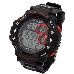 Mens Black Silcone Band Red Bezel Sport Alarm Chrono LED Digital Water Proof Wrist Watch Watches >>> Check out this great product.Note:It is affiliate link to Amazon.