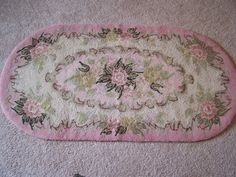 Antique Wool Rug, Victorian, Cottage Chic, Pink Roses, OVAL 45 x 24 by TeresasTreasuresEtc on Etsy