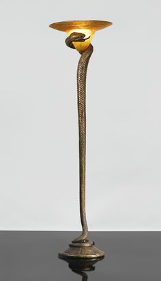 "EDGAR BRANDT AND DAUM ""LA TENTATION"" FLOOR LAMP base impressed E. BRANDT, the shade engraved Daum Nancy France with the Croix de Lorraine gilt wrought iron and cameo glass 65 in. (165.1 cm) high 18 1/8 in. (46.4 cm) diameter of shade circa 1925"