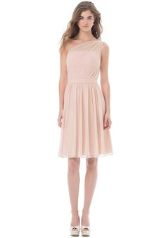 Chiffon one shoulder short dress with asymmetrical pleats. Self band at the waist, soft gathers embellish the skirt.