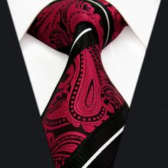 Paisley Stripes Black Red White Mens Necktie Ties Silk Jacquard Woven Wedding Men Ties For Men Casual Dress Brand Men Tie ** Check out this great product. Sharp Dressed Man, Well Dressed Men, Moda Men, Look Fashion, Mens Fashion, Tie Matching, Paisley Tie, La Mode Masculine, Elegantes Outfit