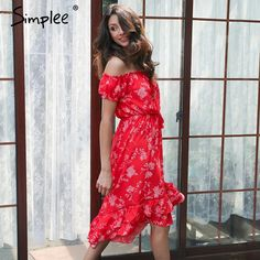 Simplee Off shoulder floral print dress women Lace up vintage ruffle sexy dress 2017 Elegant beach summer dress tassel vestidos