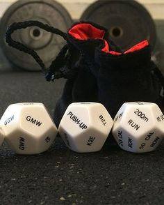 CrossFit Dice - Holy Cow that's awesome. Would be nicer as general fitness, not CrossFit. Crossfit Wods, Crossfit Motivation, Crossfit Gifts, Kettlebell Circuit, Fitness Gifts, Health Fitness, Fitness Gear, Fitness Equipment, Group Fitness