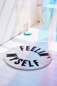 Shop Feelin' Myself Bath Mat at Urban Outfitters today. We carry all the latest styles, colors and brands for you to choose from right here. Ideal Bathrooms, Beautiful Bathrooms, Bathroom Rugs, Bath Rugs, Bathroom Ideas, Bathroom Inspo, Bathrooms Decor, Bathroom Carpet, Bathroom Styling