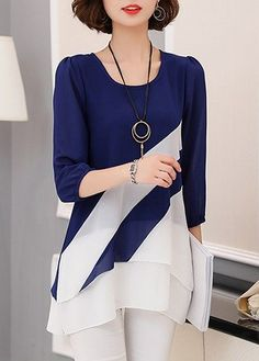 Three Quarter Sleeve Round Neck Layered Navy Blouse, modest, cute, free shipping worldwide, shop it at rosewe.com