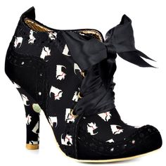 Abigails Party by Irregular Choice are Black/White Scottie Dog Textile Upper shoes, with Wide Black Satin laces, Textile Lining and Manmade Patterned Sole. Beautiful Irregular Choice Abigails Party Black/White Scottie Dog shoes.   eBay!