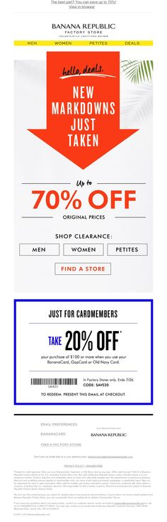 Banana Republic Factory Store - 100s of NEW markdowns just taken!