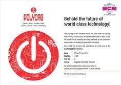 Polycab at AceTech 2015 Exhibition In Gujarat Date    : 6th to 8th Feb, 2015 Stall     : B22 Venue : Gujarat University Ground  More info: http://buff.ly/163xNzY