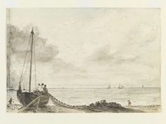 Brighton Beach: Fishing boat with net, John Constable, about 1824