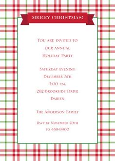 Red and Green Check Invitations