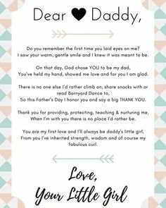 Cute dear daddy poem from a daughter to her father for Father's Day! Create your own to make a special gift for your dad. {pacific kid} fathers day diy crafts, preschool mothers day, fathers day poems from kids Daddy Poems, Daddy Daughter Quotes, Fathers Day Poems, Daddy Day, Fathers Day Crafts, Happy Fathers Day, Poems For Dad, Dad Birthday Quotes From Daughter, Quotes About Fathers