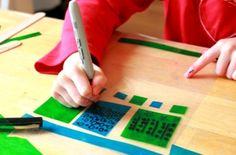 gekleurde patronen maken voor het raam