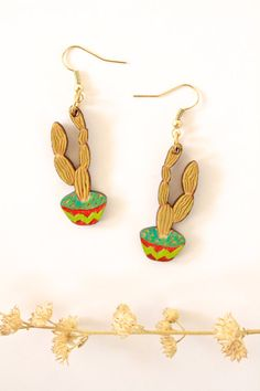 Laser-Cut Cactus Earrings Hand Painted Cactus by TinyWoodenCactus