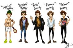 Harry has so many Styles, he could form his own band. The Harry Boys. Sporty Harry, Hipster Harry, Posh Harry, Farmer Harry and Rocker Harry to name a f. The Harry Boys One Direction Fan Art, One Direction Drawings, Boys Who, My Boys, Boys Teenage, Teenage Dirtbag, Harry Styles Memes, Holmes Chapel, Wattpad