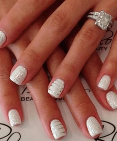Stripes and Sparkle Make White Nails Sing