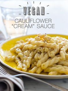 "Vegan Cauliflower ""Cream"" Sauce - 2 heads cauliflower, cut into small florets 3 small shallots, cut into wedges 6 garlic cloves, unpeeled 2 tablespoons coconut oil cup nutritional yeast cup almond milk 1 teaspoon Dijon mustard salt and pepper to taste Vegan Sauces, Vegan Foods, Vegan Dishes, Paleo Diet, Whole Food Recipes, Cooking Recipes, Cooking Food, Vegetarian Recipes, Healthy Recipes"