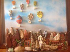 Stone painting by Teoman Guray, turkish landscape, Goreme, baloons