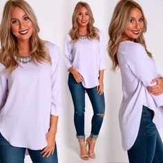 This color is EVERYTHING  Rounded Zipper Blouse ($28.99 #tria) Stores are open today from 10-8p! Come shop with us or check out what's new online at sophieandtrey.com with F R E E shipping on all orders! XO #shoplocalorlando #fashion #onlineboutique #freeshipping #weshipfree #sophieandtrey #blouse #lavender #purple #spring #springbreak #womenswear