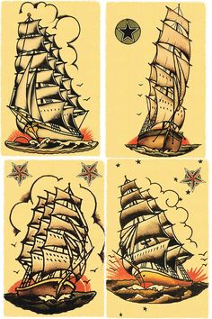 Sailors Grave Ships Salior Jerry Tattoo Style Flash Posters Prints