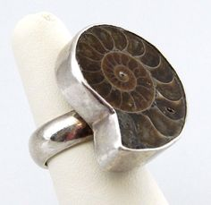 Signed Charles Albert Fine Sterling Silver AMMONITE Fossil Fashion Ring