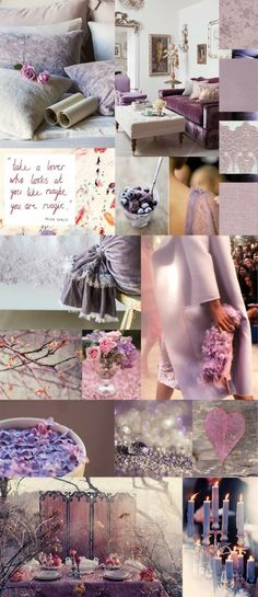 Valentines Day Interior Inspiration with hues of Lavendar, Mauve, Petal Pink, and Powder  Color Board, Mood Board