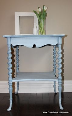 Matilda Parlour Table - Antique table refinished in Miss Mustard Seed Milk Paint custom colour, Bergere and Farmhouse White