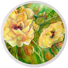 Yellow Peony Flowers Round Beach Towel by Sabina Von Arx. The beach towel is in diameter and made from polyester fabric. Beach Towel Bag, Yellow Bathroom Decor, Peony Flower, Flowers, Yellow Peonies, Bamboo Tree, Organic Art, Summer Essentials, Colorful Backgrounds