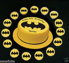 """Batman logo birthday #cupcakes or cake 7.5"""" edible #topper #icing sugar yellow,  View more on the LINK: http://www.zeppy.io/product/gb/2/291000011079/"""