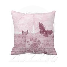 Beautiful Pink Butterfly Floral Pillows from Zazzle.com