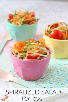 A quick, easy and super healthy summer salad recipe. I've spiralized carrots, cucumber and apple to make this delicious side salad that the whole family will love! My Fussy Eater blog