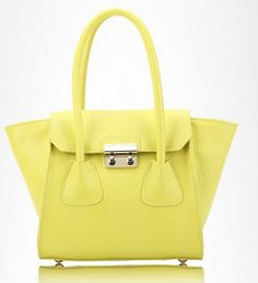 yellow  candy color bat genuine leather shopping bags by starbag, $69.50
