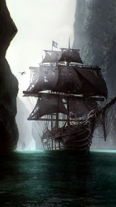Ghost ship, don't reveal its a ghost ship till someone clambers aboard (pirate looking for treasure?) and the pov laments someone else being added to the crew of the dead. Heavy description on ship. Pirate Art, Pirate Life, Pirate Ships, Pirate Crafts, Pirate Skull, Arte Assassins Creed, Bateau Pirate, Old Sailing Ships, Ghost Ship