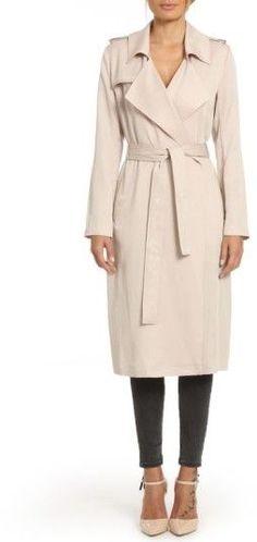 Women's Badgley Mischka Faux Leather Trim Long Trench Coat  #affiliate