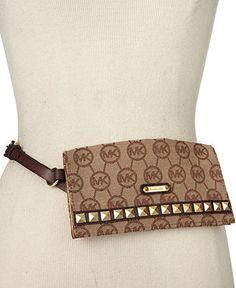 MICHAEL Michael Kors Belt, Logo Belt Bag with Pyramid Studs - Handbags & Accessories - Macys