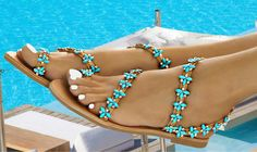 Price: 129 euros. Suitable for bridal sandal !!! Handmade women flat leather sandals decorated with Italian made gold plated braid (hand sewn, with turquoise and transparent crystals). Visit our upgraded web store and get 20% OFF all your purchases !! #InnovativeGreekSandals #flatsandals #weddingflats