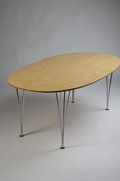 Dining table, Superelipse. Designed by Bruno Mathsson and Piet Hein for Mathsson International, Sweden. 1966.