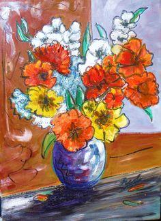 signed original floral oil painting listed AskArt US Kevin F Doyle Basquiat pal #Impressionism