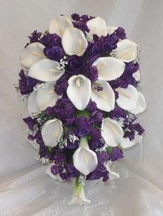 Purple Lapis Calla Lilies Roses Cascade Bridal Bouquet Silk Wedding Flowers | eBay