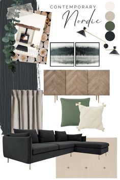 Our look of the week is a simple, contemporary Scandinavian living room with corner sofa. Muted colour palette of grey, charcoal, green and white walls. Charcoal Living Rooms, Sage Living Room, Nordic Living Room, Living Room Sofa, Scandinavian Living, Living Room With Grey Sofa, Green Living Room Walls, Simple Living Room, Small Living