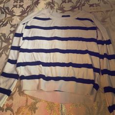Navy and White Striped Sweatshirt Navy and White Striped Sweatshirt Forever 21 Tops Sweatshirts & Hoodies