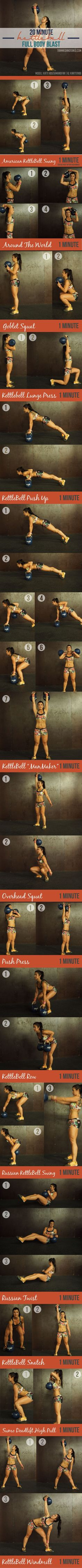 20 Minute Full Body Fat Loss Kettlebell Workout Circuit! Find more like this at gympins.com #kettlebell | Repinned www.pinterest.com/muskelfarm/ #LossWeight