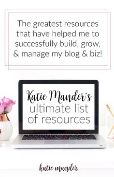 All of the resources that have helped me to successfully build, grow, and manage my blog and business. Wordpress templates and themes, stock photos, social media tools, email providers, client management, and more